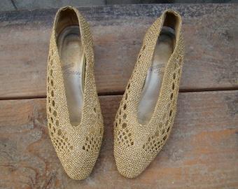 Vintage 80s / Gold / Woven/ Kitten Heel / Pumps / 5.5 B