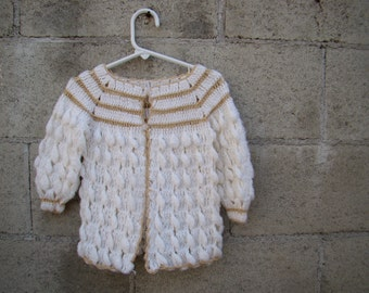 Vintage / White and Taupe / Hand Knitted / Baby Girl / Sweater / Toddler
