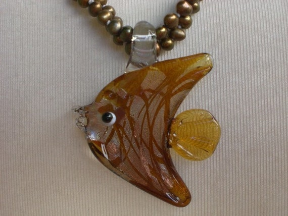 Murano Style / Glass / Oceanic / Fish Pendant and Fresh Water Pearl Necklace