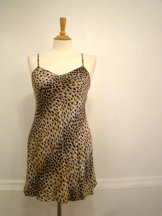 Vintage 80s Leopard Print Boudoir Pin Up NIghtie SMALL
