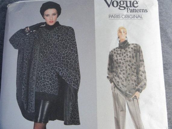 Vintage 1987 GIVENCHY Winter Cape, Sweater Top, Straight Pencil Skirt, & Pants- Vogue Paris Original Sewing Pattern 1973- Size 6-10 UNCUT