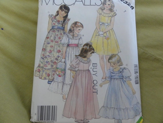 1986 Flower Girl Gown, Party Dress, Puff Sleeves, Ruffle Collar, Full Skirt -Vintage 80's McCall's Sewing Pattern 2328- Size 7 UNCUT