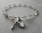 St. Gerard Catholic Rosary Bracelet in Rose Quartz - Patron Saint of Motherhood