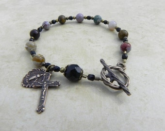 Rosary Bracelet featuring Miraculous Mary in Ocean Jasper and Antique Bronze