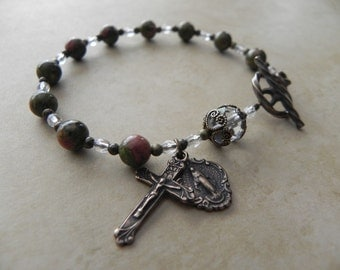 Miraculous Mary Rosary Bracelet in Antique Bronze and Unakite Gemstone