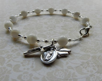 ProLife Rosary Bracelet in Mother of Pearl featuring Our Lady of Guadalupe