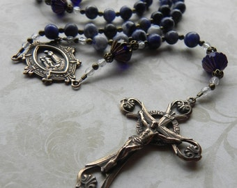Our Lady of La Salette Rosary Beads in Blue Sodalite Gemstone and Antique Bronze
