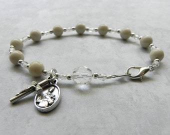 St. Gerard Catholic Rosary Bracelet in Cream Gemstone - Patron Saint of Motherhood