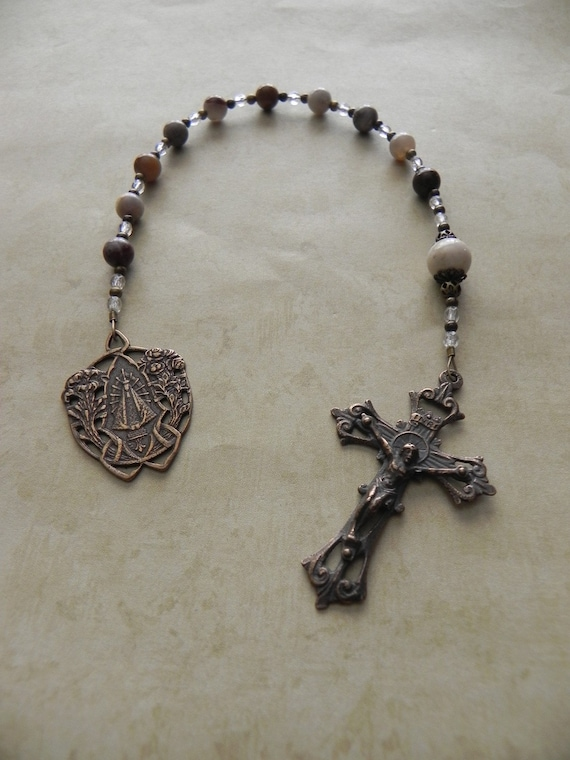 Catholic Pocket Rosary - Tenner - Our Lady of Lujan - Patroness of Argentina - Antique Bronze - Gemstone