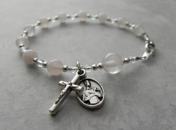 St. Gerard Catholic Rosary Bracelet in Rose Quartz - Patron Saint of Motherhood
