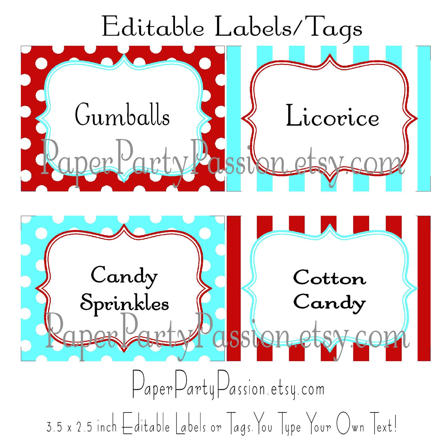 Free Editable Printable Tags And editable party labels