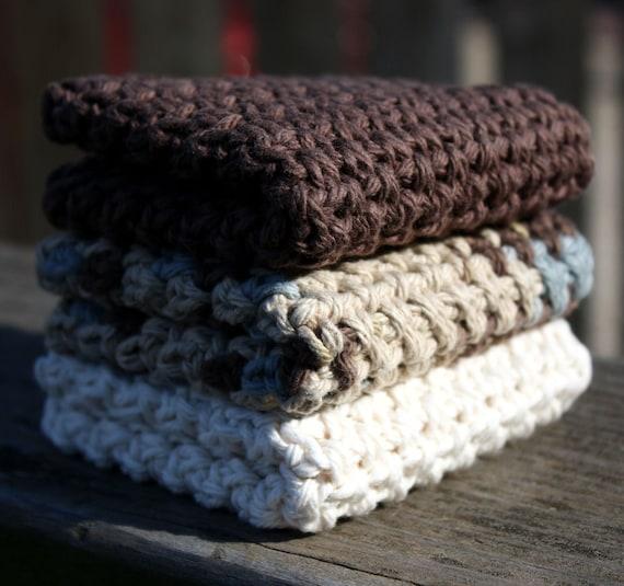 Set of Three Cotton Washcloths, Chocolate Brown & Rustic White