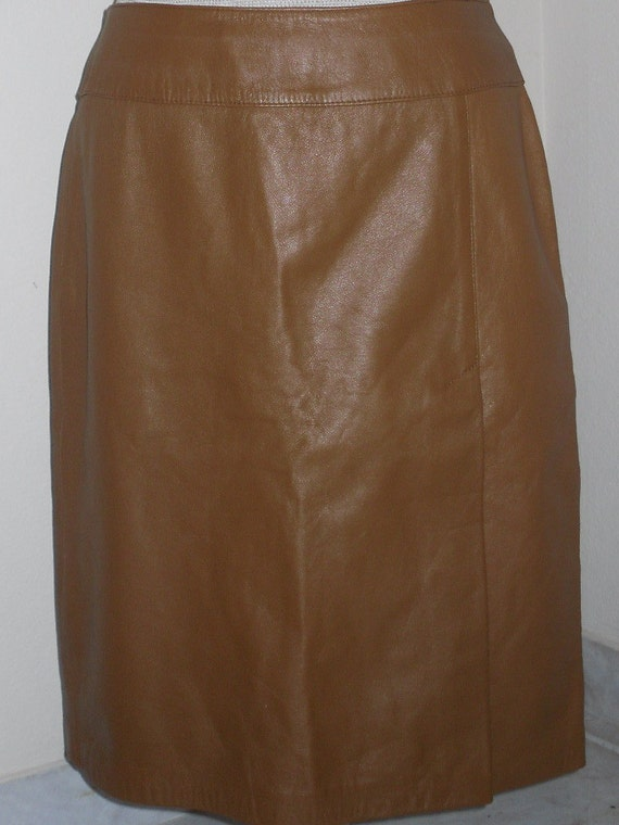 honey color leather skirt by nsvintage on etsy