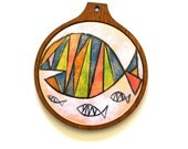 Enameled Copper Fish Trivet in Red, Blue, and Green