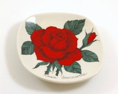 Arabia Botanical Red Rose Pin Dish or Plate - Designed by Esteri Tomula - Rosa Baccara