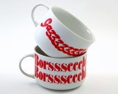 Reserved for Collette: Two Typography Soup Mugs -- Borscht and Gazpacho