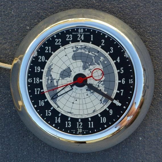 Mastercrafters 24 Hour Chrome World Clock