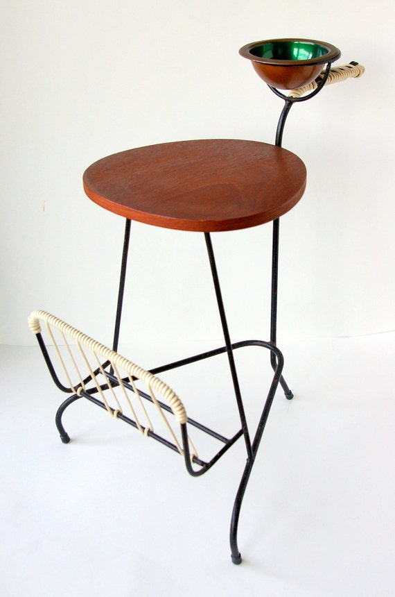 Danish Modern Side Table with Magazine Rack with Enamel Dish