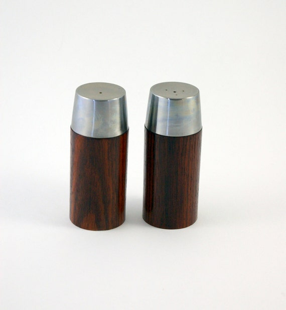 Rosewood and Stainless Steel Salt and Pepper Shakers - Danish Modern