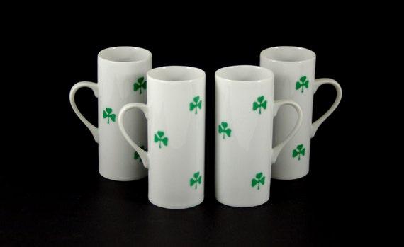 Lagardo Tackett Demitasse Cups with Shamrocks by Schmid Porcelain