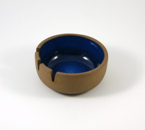 Heath of California Small Ashtray in Blue and Brown