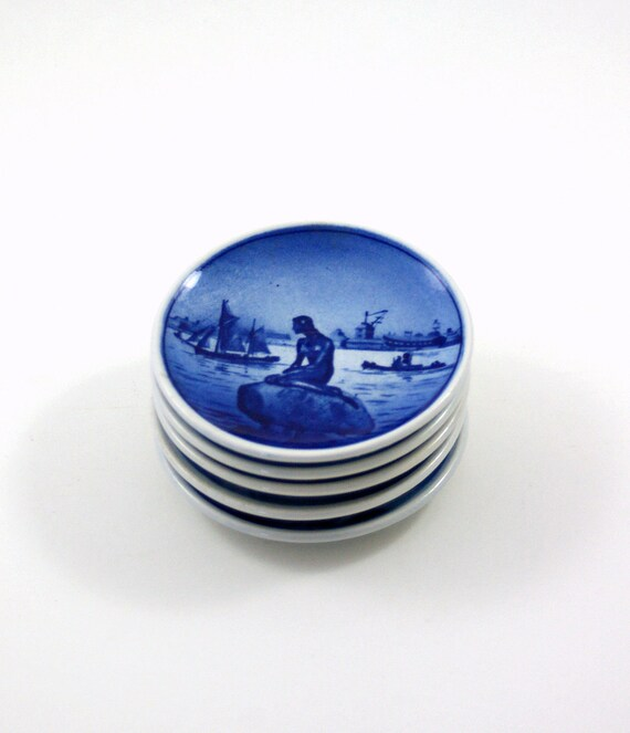Five Royal Copenhagen Coasters or Wall Plates in Blue and White