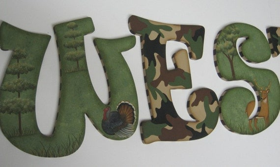 Camo Baby Nursery Handpainted Wall Letters Hunting Outdoor