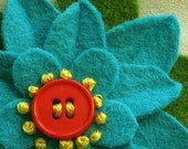 Flower Hair Clip Turquoise Felt with Orange Button and French Knots - Handmade