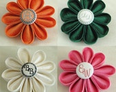 Monogrammed Silk Flower Brooches or Hair Clips - Custom Personalized - Bridal, Wedding, Boutonniere