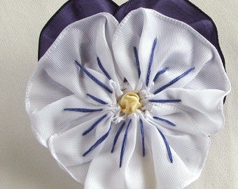 White and Purple Pansy Ribbon Brooch - Fabric Flower Pin with Hand Embroidery