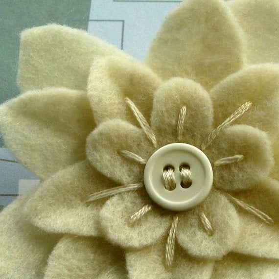 Boutonniere Flower Pin - Cream Eco Felt with button center and hand embroidery