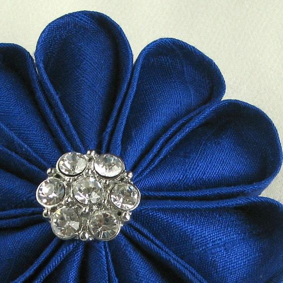 Flower Pin Sapphire Silk Kanzashi with Vintage Rhinestone Button