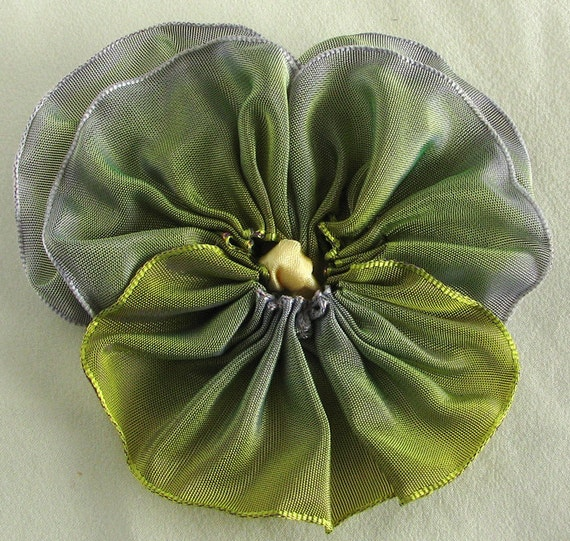 Pansy Pin - Fabric Flower Pin - Yellow Green to Lavender French Shaded Ribbon