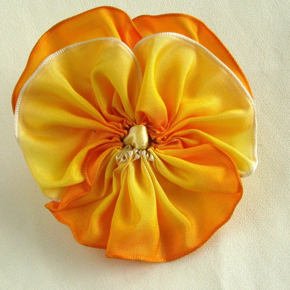 Pansy Pin - Golden Yellow Ombre Ribbon - Handmade in USA