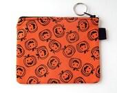 Bright Orange Pumpkin Print Small Zippered Pouch