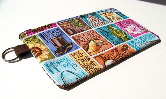 Blank Quilting 50 States Print Medium Zippered Pouch