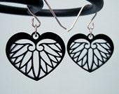 Korean Earrings - Heart Leaf Phoenix Wings Black