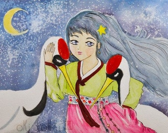 Korean Hanbok Girl Crane Art Print 5x7, Nursery decor, Gift for her, Baby shower present, Asian mythology watercolor, Traditional Dress