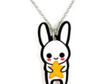 Cute Star Bunny Charm Necklace, Korean White Rabbit, Kawaii Japanese Usagi, Easter Art Jewelry, Chinese Zodiac Year, Gift for her