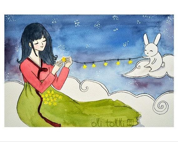 Korean Hanbok Girl Bunny Art Print 8x10 - Stringing Stars