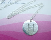 Initial Necklace- Hand stamped Initial Necklace- Initial Jewelry