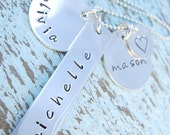 Hand Stamped Charm Necklace - Mother Necklace - Personalized Necklace