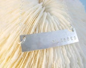 Handstamped Personalized Jewelry Sterling Silver BAR Necklace
