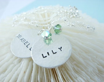 MY LITTLE ONES.......Sterling Silver Hand Stamped Necklace