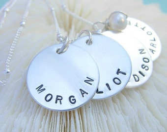 Hand Stamped Personalized Jewelry - Name charm sterling silver necklace-Family