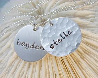 Handstamped Necklace - Hammered - Personalized - Engraved Jewelry