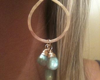 Gold Hoop Earrings - Gold Labradorite Hoop Gemstone Earrings