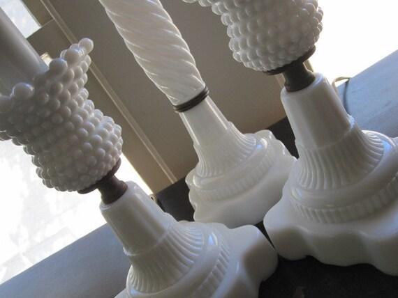SET Vintage White Hobnail Milk Glass Lamps (so chic)