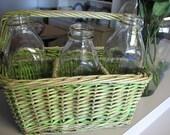 vintage basket - GREEN PAINT - basket - RESERVED
