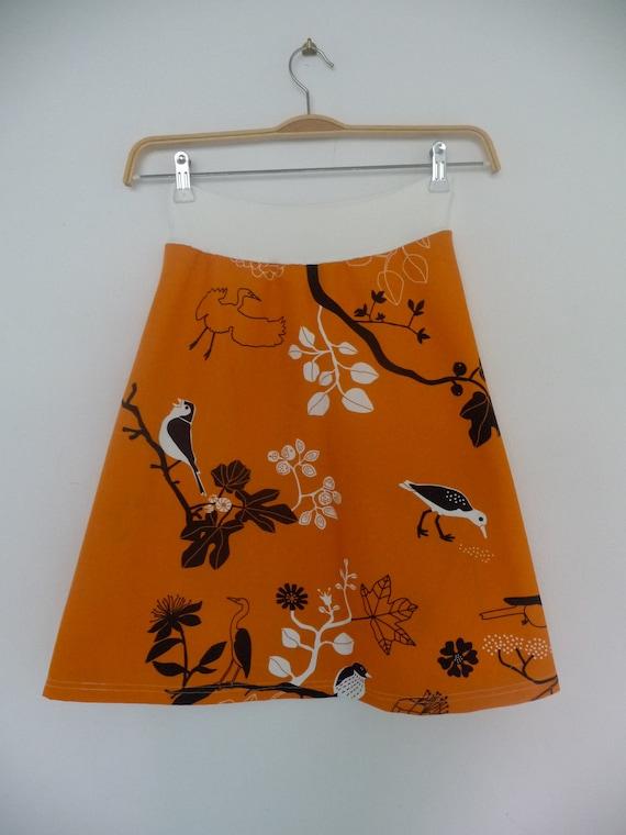 SALE pull on Aline Skirt, orange floral bird print, stretch waist, Australia | Women | Maternity friendly | Yoga band waist |